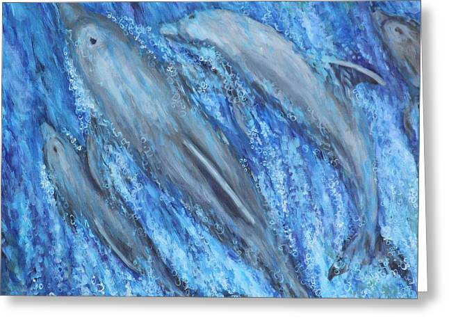 Greeting Card featuring the painting Dolphins At Play by Penny Birch-Williams