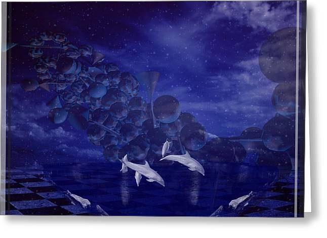 Dolphins Greeting Card by Jessie Art