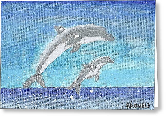 Dolphins Jumping Greeting Card by Fred Hanna
