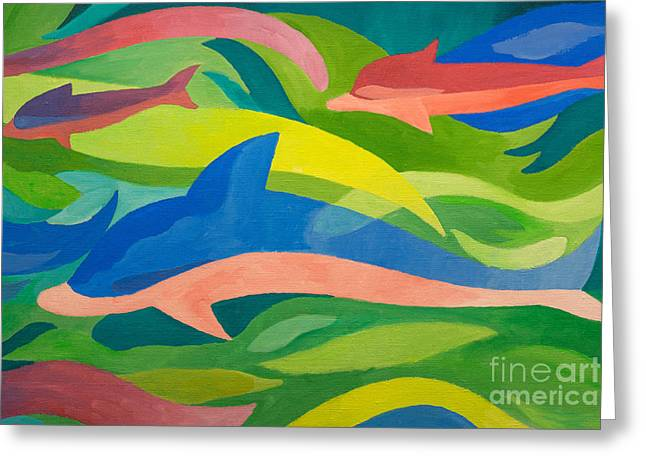 Dolphins Painting Greeting Card by Lutz Baar