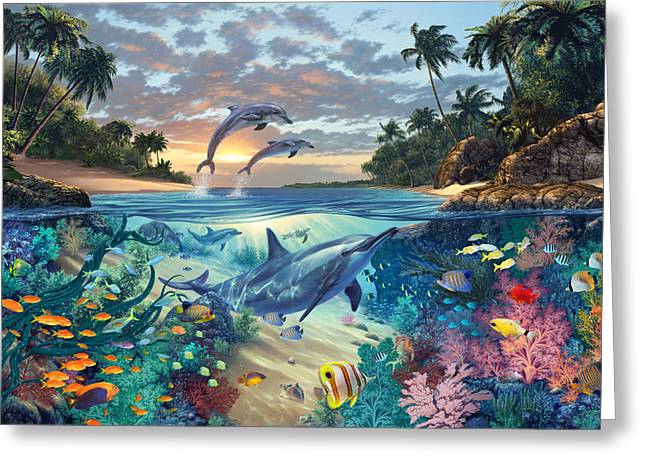 Dolphins Playground Greeting Card by Steve Read