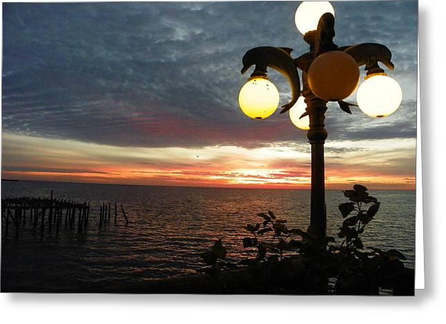 Dolpin Lamp And Sunrise I I Greeting Card