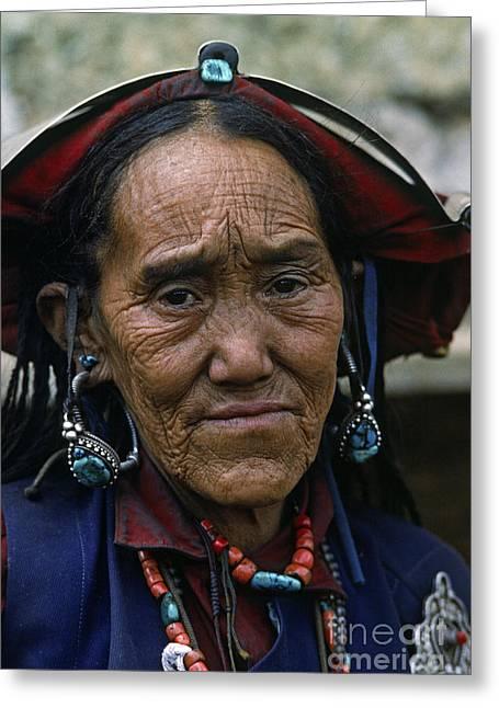 Dolpo Woman In Traditonal Dress - Nepal Greeting Card by Craig Lovell