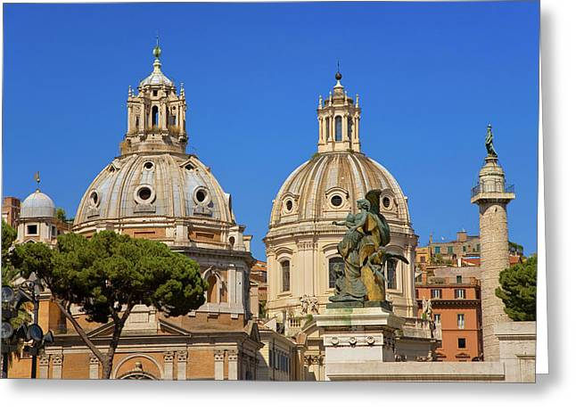 Domes Of Santa Maria Di Loreto And Nome Greeting Card