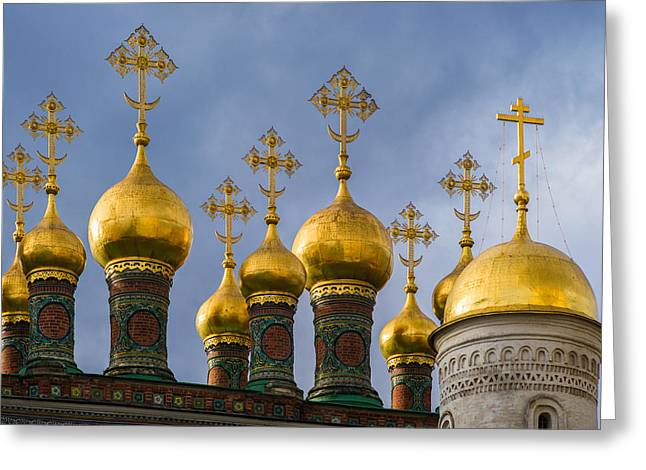 Domes Of The Church Of The Nativity Of Moscow Kremlin - Featured 3 Greeting Card