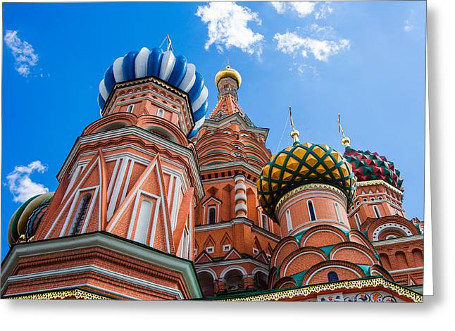 Domes Of The Vasily The Blessed Cathedral - Featured 2 Greeting Card by Alexander Senin