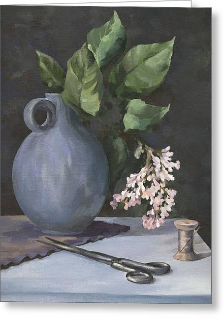 Greeting Card featuring the painting Domestic Still Life by Natasha Denger