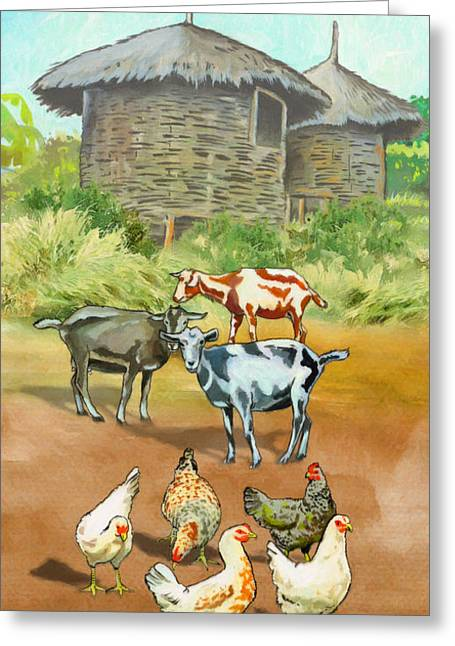 Domestic Animals Greeting Card