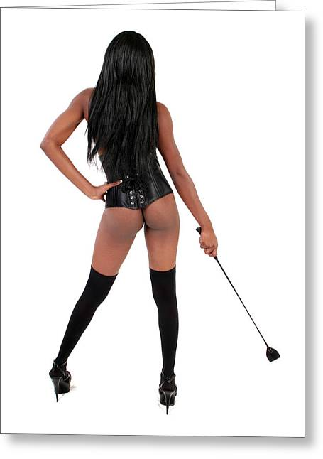 Dominatrix With Riding Crop Greeting Card