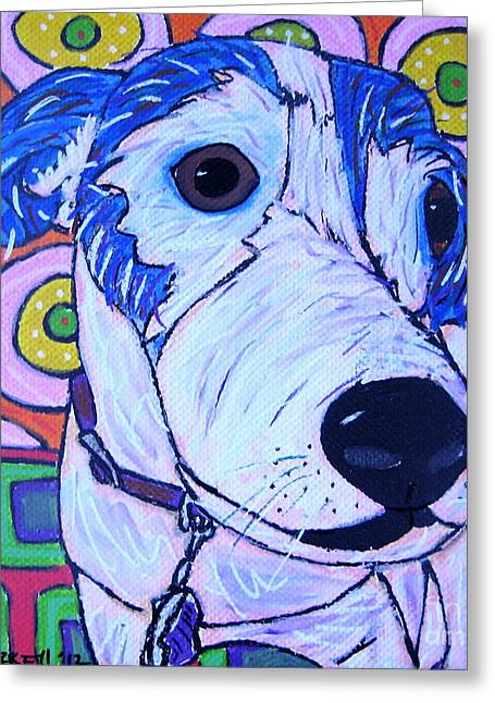 Domino Dog Greeting Card by Susan Sorrell