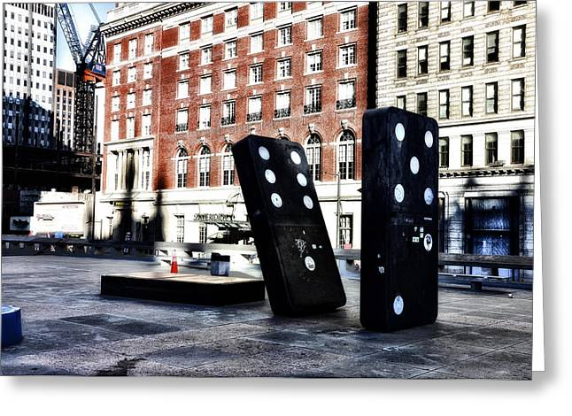 Domino Sculpture Greeting Card by Bill Cannon
