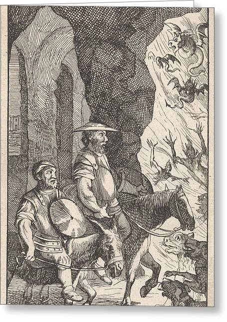 Don Quichotte And Sancho Ride Past A Smithy Which Greeting Card by Pieter Mortier