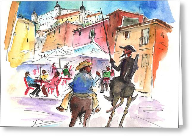 Don Quijote And Sancho Panza Entering Toledo Greeting Card by Miki De Goodaboom
