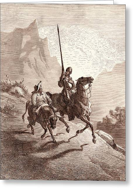 Don Quixote And Sancho Setting Out, By Gustave Dore Greeting Card