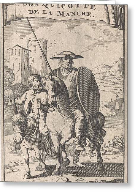 Don Quixote On Horseback, Sancho Next To Him On A Donkey Greeting Card by Caspar Luyken And Pieter Mortier