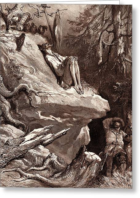Don Quixotes Madness, By Gustave Dore Greeting Card