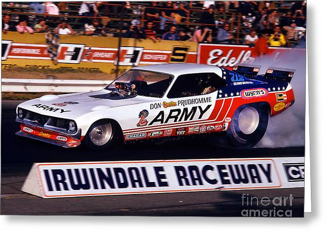 Don The Snake Prudhomme Irwindale Raceway 1970s Greeting Card by Howard Koby