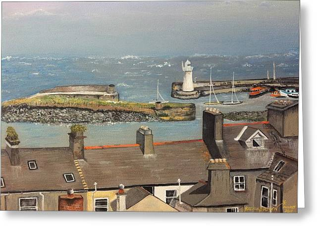 Greeting Card featuring the painting Donaghadee Ireland Irish Sea by Brenda Brown