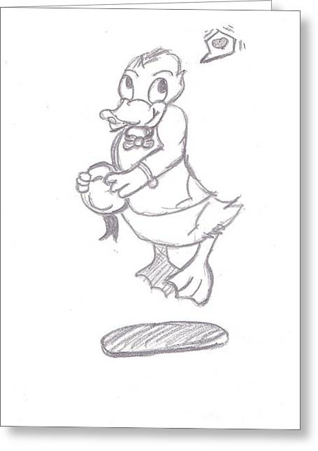 Donald Duck In Love Greeting Card by Melissa Vijay Bharwani