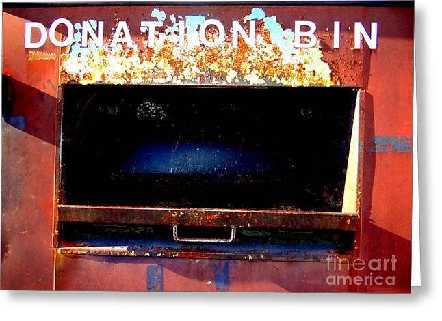 Donation Bin Greeting Card by Ed Weidman