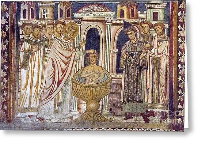 Donation Of Constantine-baptism And Cure Greeting Card