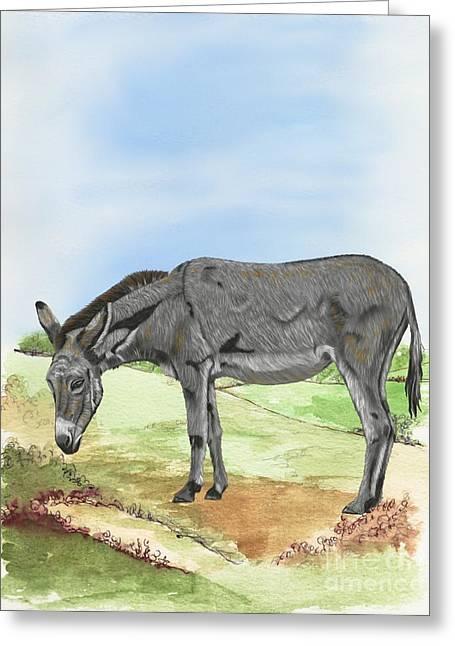Donkey Greeting Card by Karen Sheltrown