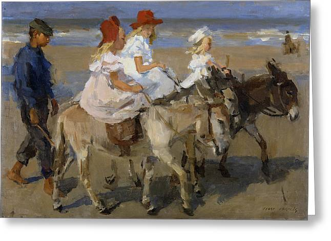 Donkey Rides Along The Beach Greeting Card
