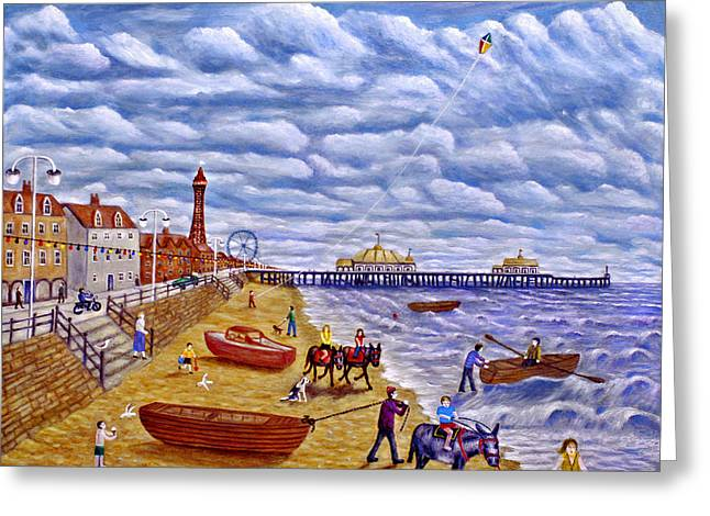 Donkey Rides On Blackpool Beach Greeting Card by Ronald Haber