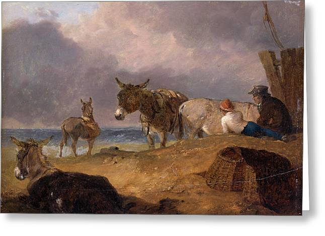 Donkeys And Figures On A Beach, Julius Caesar Ibbetson Greeting Card by Litz Collection
