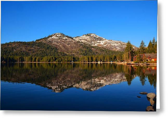 Donner Lake Cabin Reflection Greeting Card