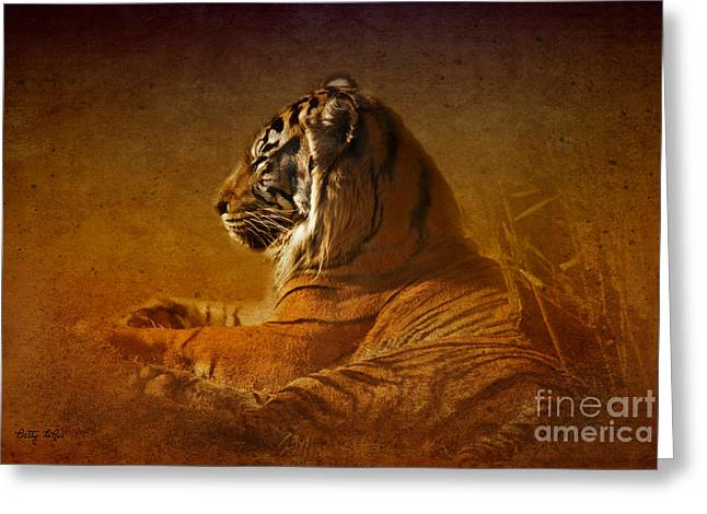 Don't Wake A Sleeping Tiger Greeting Card by Betty LaRue