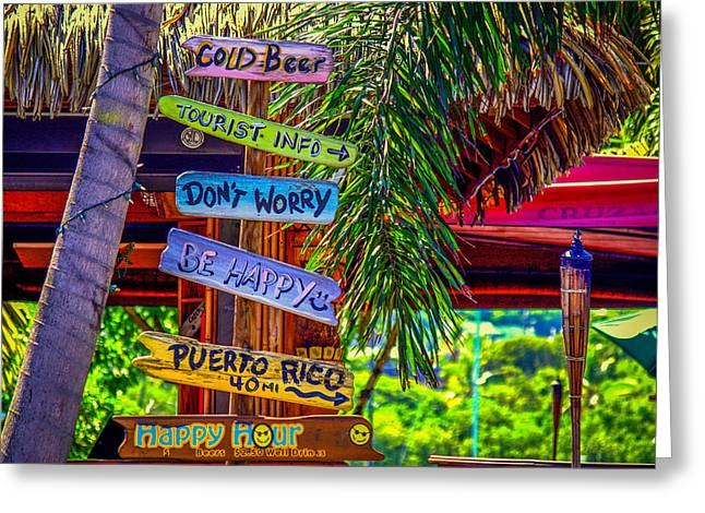 Don't Worry..be Happy Greeting Card by Denise Darby