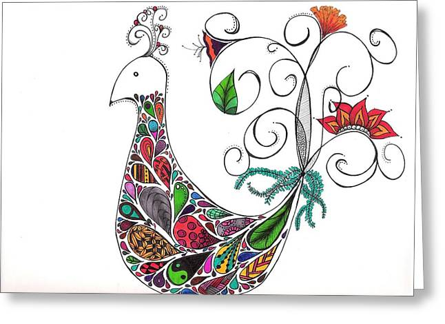 Doodle Bird Greeting Card by Lori Thompson
