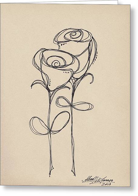 Doodle Roses Greeting Card