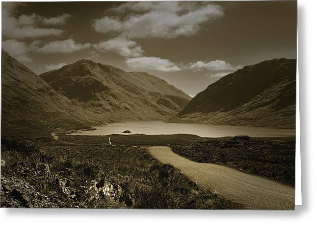Doolough Pass County Mayo Ireland Sepia Greeting Card by Jane McIlroy
