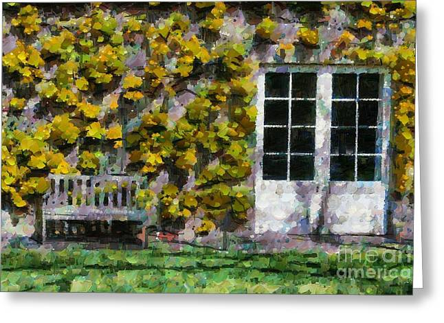 Greeting Card featuring the digital art Door And Bench by Fran Woods