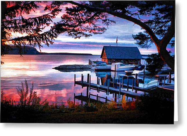Door County Anderson Dock Sunset Greeting Card by Christopher Arndt