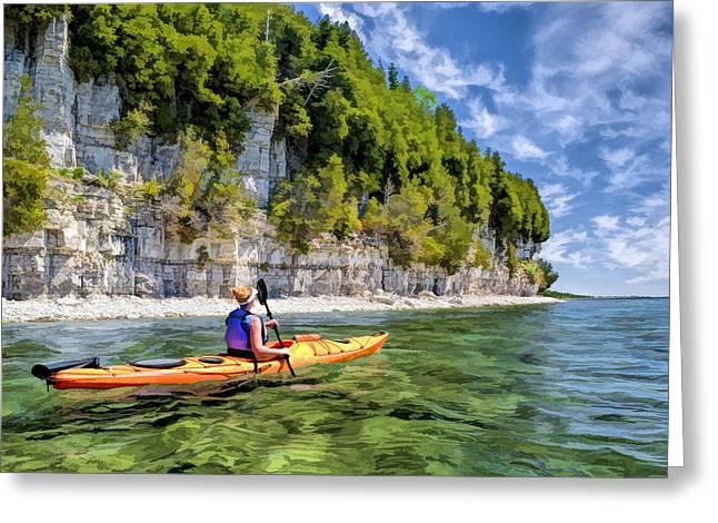 Door County Kayaking Around Rock Island State Park Greeting Card
