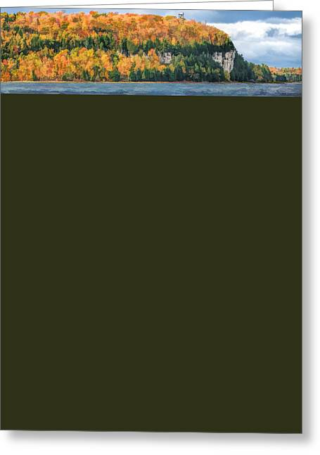 Door County Peninsula State Park Bluff Panorama Greeting Card by Christopher Arndt