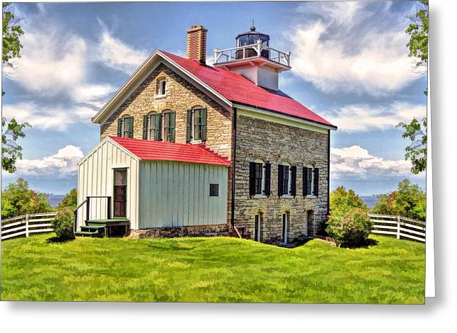 Door County Pottawatomie Lighthouse Rock Island Greeting Card