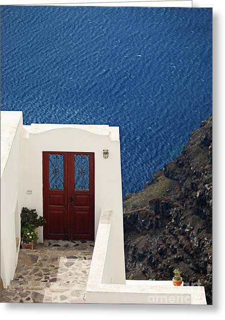 Door Facing The Aegean Sea Greeting Card by Aiolos Greek Collections