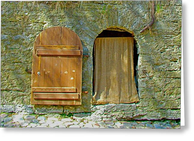Door In Walkway Wall In Old Town Tallinn-estonia Greeting Card by Ruth Hager