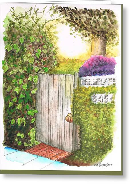 Meir Studio Door In Melrose Place, Los Angeles, California Greeting Card