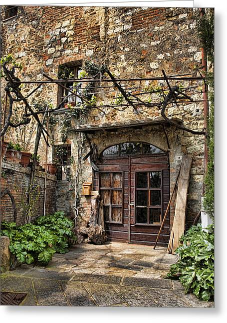 Greeting Card featuring the photograph Door Montepulciano Italy by Hugh Smith
