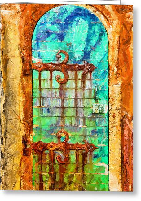 Greeting Card featuring the painting Door To Lighthouse by Kai Saarto