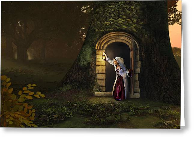 Greeting Card featuring the digital art Door To The Underworld by Bob Nolin