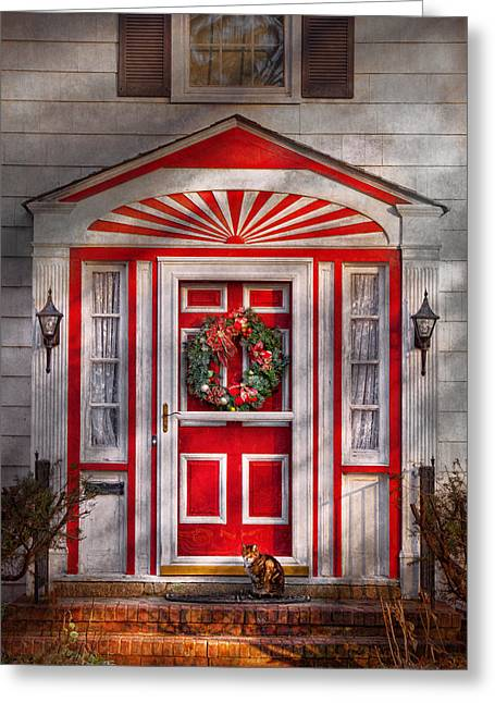 Door - Winter - Christmas Kitty Greeting Card by Mike Savad
