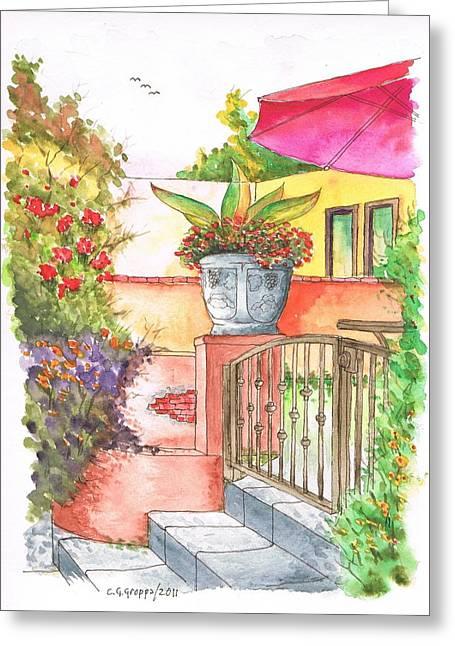Door With A Flower Pot In Venice Beach - California Greeting Card