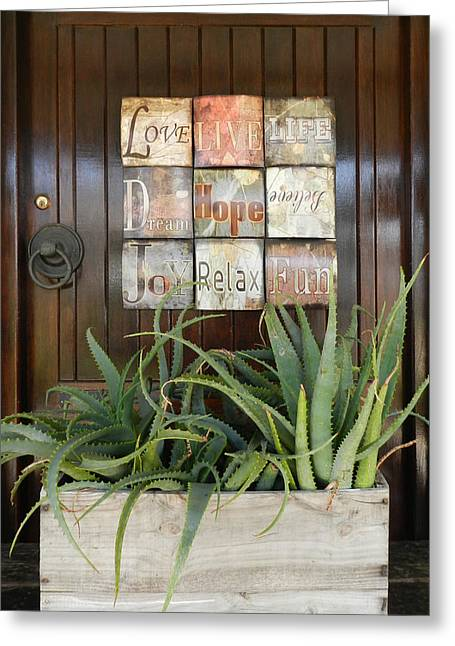 Door With A Message Greeting Card by Leana De Villiers