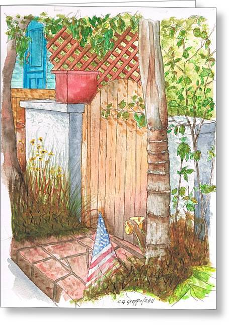 Door With Flag In Venice Canal - California Greeting Card by Carlos G Groppa